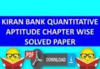 Kiran Bank Solved Paper Quantitative Chapter Wise