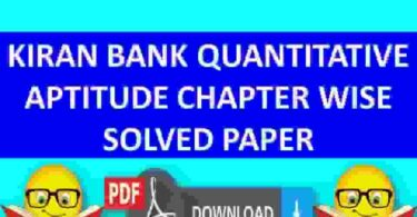 Kiran Bank Solved Paper Quantitative Chapter Wise