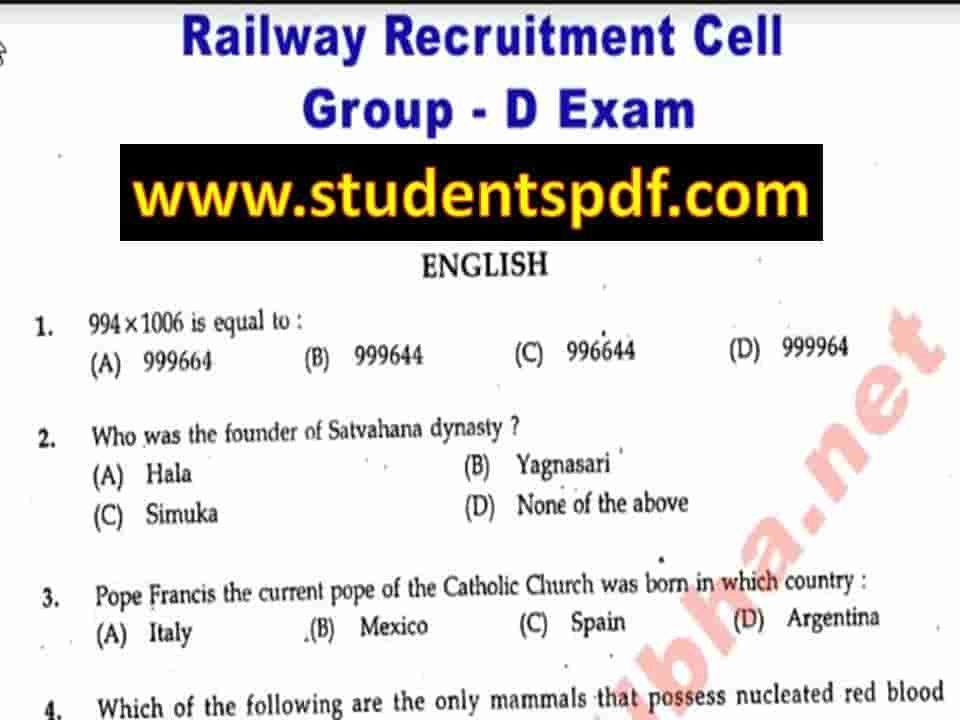 Railway Group 'D' Last 10 Years Previous Year Question Paper In Hindi PDF Download