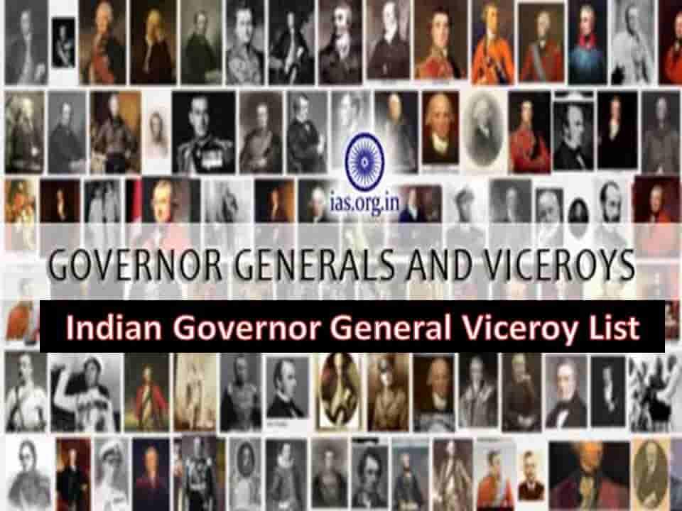 Indian Governor General Viceroy List