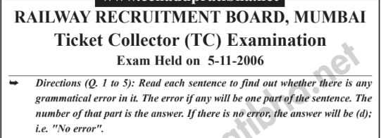 Railway Ticket Collector Exam Question Paper PDF