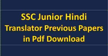 SSC Junior Hindi Translator Previous Papers in Pdf Download