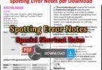 Spotting Error Notes pdf Download