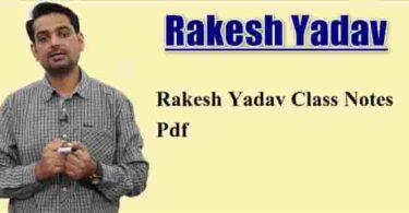 Rakesh Yadav Class Notes Pdf