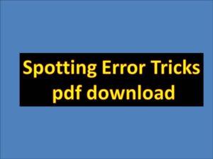 Spotting Error Tricks pdf download