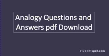 Analogy Questions and Answers pdf Download